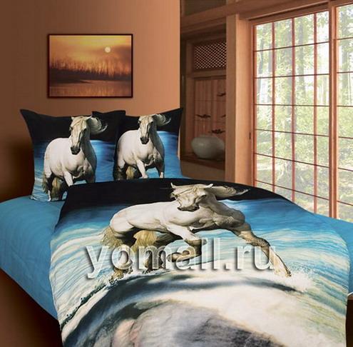 Детское постельное белье с Лошадьми подарок КПБ Лошади