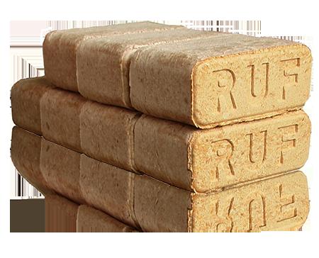 Топливные брикеты евродрова Ruf вместо дров и угля